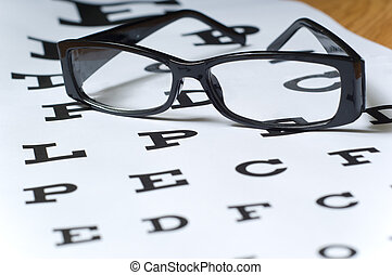 Eye Exam - A pair of black reading glasses or spectacles on...