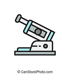 Eye exam device flat color line icon.