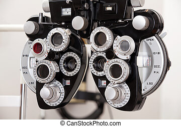 Eye Exam Equipment - Close-up of eye exam equipment.