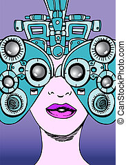 eye exam woman isolated on a purple background.