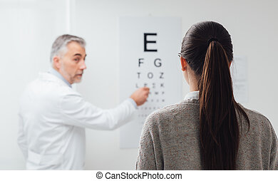 Eye exam - Woman reading the eye chart, the oculist is...