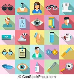 Eye examination icons set, flat style - Eye examination ...