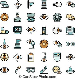 Eye examination icons vector flat - Eye examination icons ...
