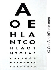 Eye examination - Traditional Snellen chart used for visual acuity testing. concept photo of health and medical care.