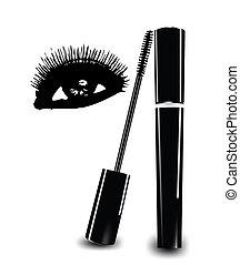 eye., eyelashes, vector, inkt