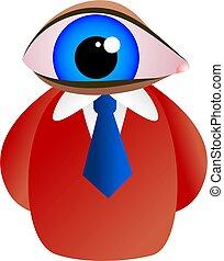 eye face - man with a giant blue eye for a face - icon...