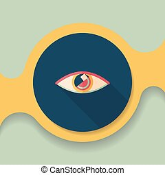 Eye flat icon with long shadow
