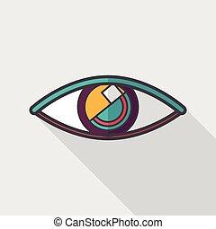 Eye flat icon with long shadow