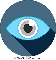 eye flat icon with long shadow vector illustration