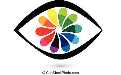 Eye flower logo - Eye flower shutter icon vector logo design...