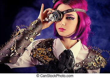 eye gears - Girl in a stylized steampunk costume posing on a...