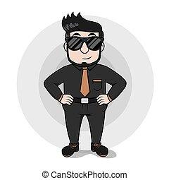 Eye glasess business man using blac