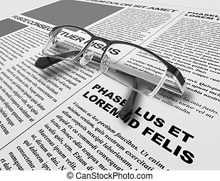 Eye glasses and newspaper