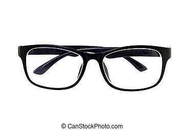 Eye glasses, Black eye glasses isolated on white background.
