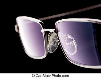 Eye glasses isolated on black