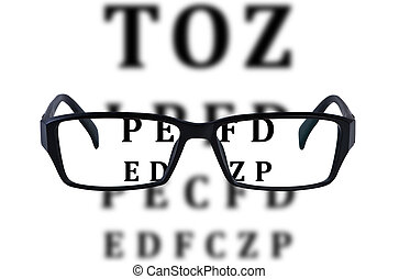 Eye glasses isolated with eye chart background.