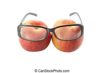 Eye glasses of two apples on white background.