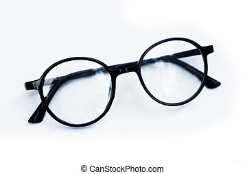 Eye Glasses on Isolated White Background. Black frame glasses