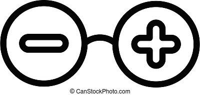 Eye glasses plus minus icon, outline style
