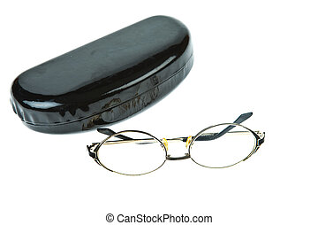 Eye-glasses with box isolated on white background