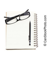 Eye glasses with mechanical pencil and binder notebook isolated on white background.