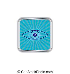 Eye glossy square web button.