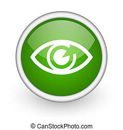 eye green circle glossy web icon on white background