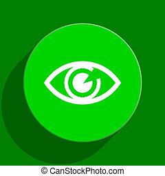 eye green flat icon