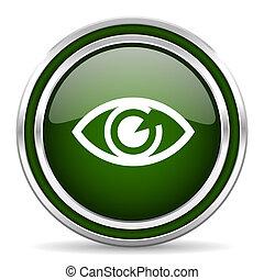 eye green glossy web icon