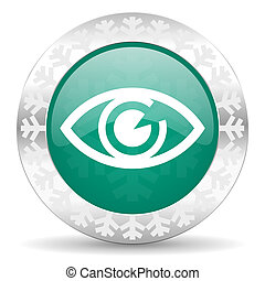 eye green icon, christmas button, view sign