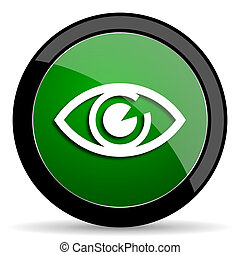 eye green web glossy icon with shadow on white background