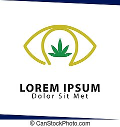 eye hemp green logo icon vector template