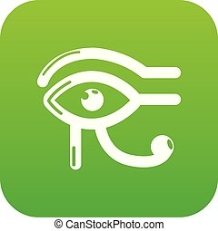 Eye horus icon green vector