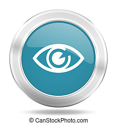 eye icon, blue round glossy metallic button, web and mobile app design illustration