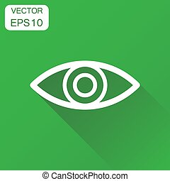 Eye icon. Business concept eyesight pictogram. Vector illustration on green background with long shadow.