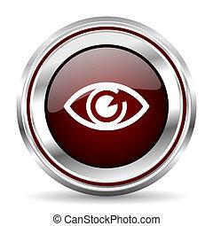 eye icon chrome border round web button silver metallic pushbutton