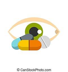 Eye icon, flat style