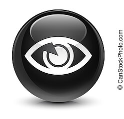 Eye icon glassy black round button