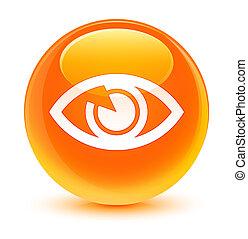 Eye icon glassy orange round button