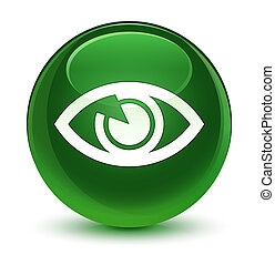 Eye icon glassy soft green round button
