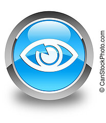Eye icon glossy cyan blue round button