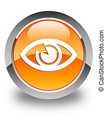 Eye icon glossy orange round button