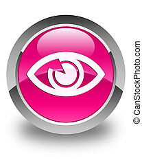 Eye icon glossy pink round button