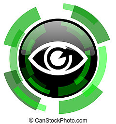 eye icon, green modern design isolated button, web and mobile app design illustration