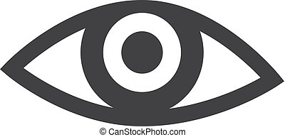 Eye icon in black on a white background. Vector illustration