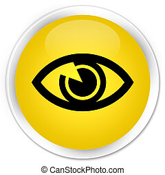 Eye icon premium yellow round button