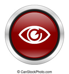 eye icon, red round button isolated on white background, web design illustration