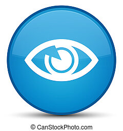 Eye icon special cyan blue round button