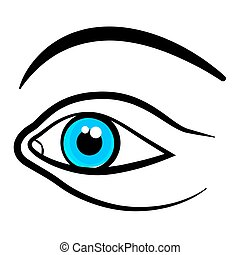 Eye Icon. Vector Blue Eye with Black Outline Isolated on White Background.