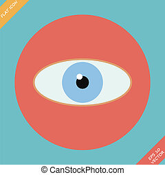 Eye icon - vector illustration. Flat design
